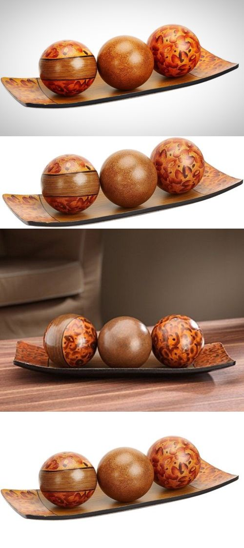 Decorative Plates and Bowls 36019: Decorative Set Tray Orbs Balls Wooden Modern Decor Home Accent Table Decoration -> BUY IT NOW ONLY: $31.03 on eBay!