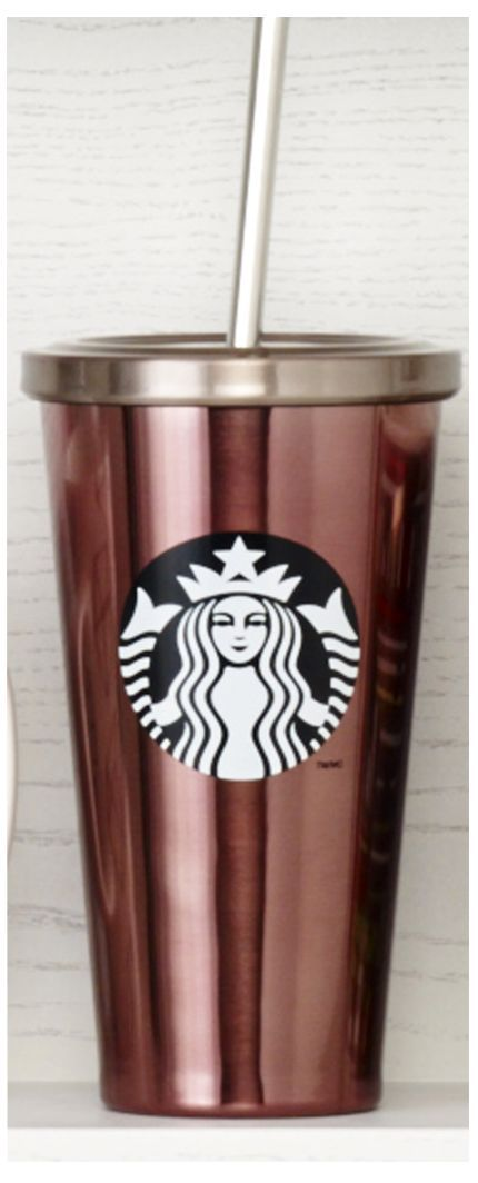Insulated, stainless steel Cold Cup tumbler with black and white Siren logo, stainless steel straw, and shiny pink finish. #Starbucks #DotCollection