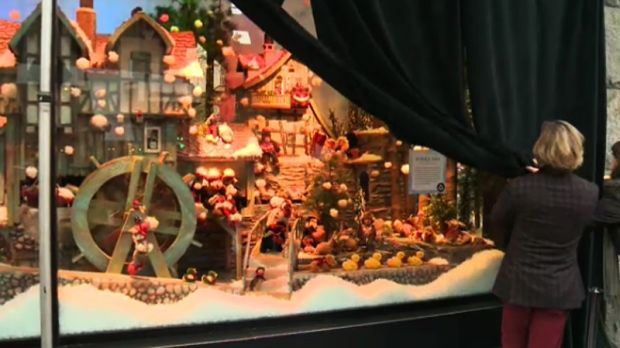 Steeve Lapierre and Harricana founder Mariouche Gagne put their heads together to upgrade Ogilvy's Christmas display.