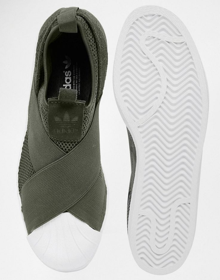 Image 3 of adidas Originals Khaki Superstar Slip On Trainers
