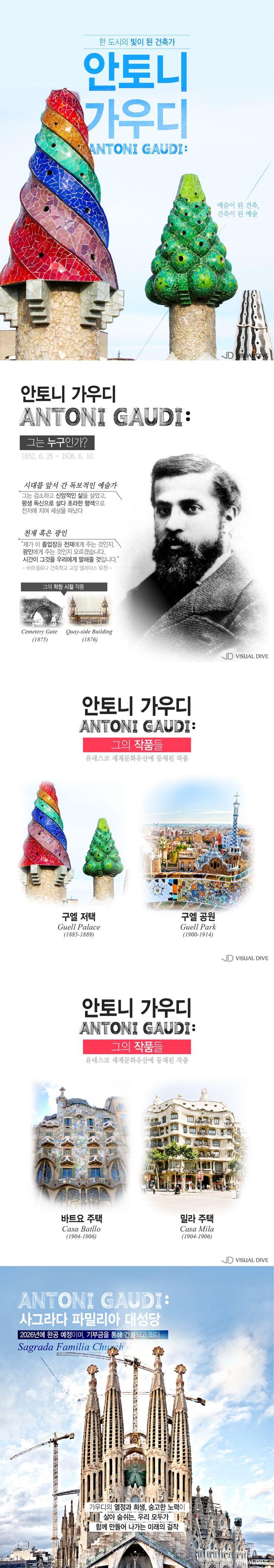 안토니 가우디, 바르셀로나를 빛낸 건축가[인포그래픽] #Architecture / #Infographic ⓒ 비주얼다이브 무단 복사·전재·재배포 금지