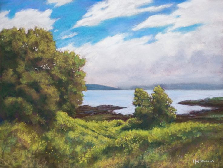 Seafront at Isle of Skye by Olli Malmivaara, soft pastel painting on Pastelmat 30 x 40 cm