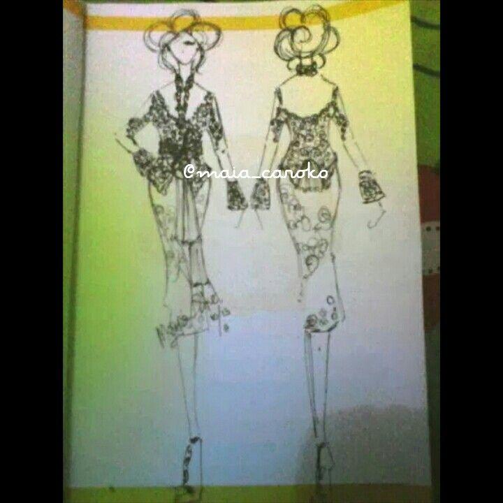 Design sketch kebaya pesta  PM pin BB 5AF305B0 WA 0856 4200 8084