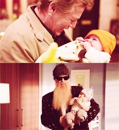 Gramps and their grandbabies: Max Brennan with Christine; Angela's dad with Michael