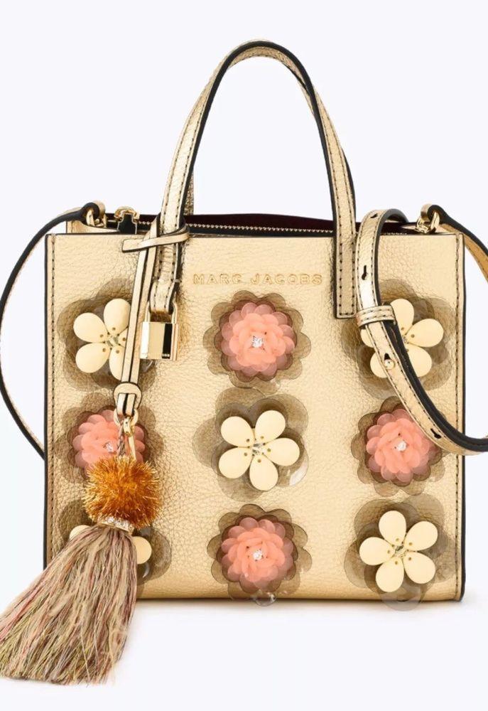 New Marc Jacobs M0013621 Gold Flower Floral Embellishments Mini