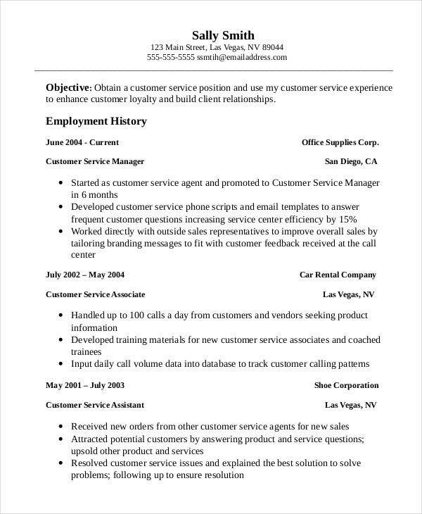 Professional Customer Service Associate Resume Template , Customer - resume for service manager