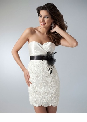 Ivory Strapless Cocktail Dress 1615