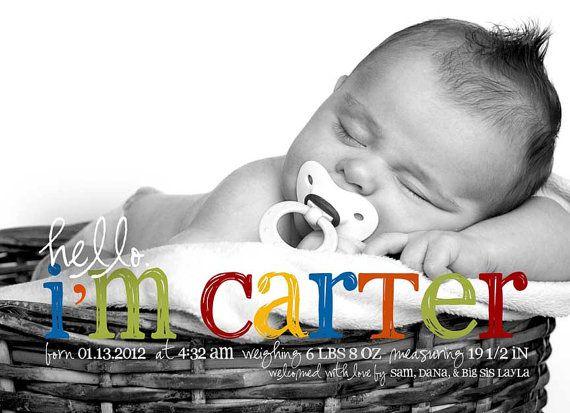 Hello Carter Baby Boy Custom Photo Birth Announcement