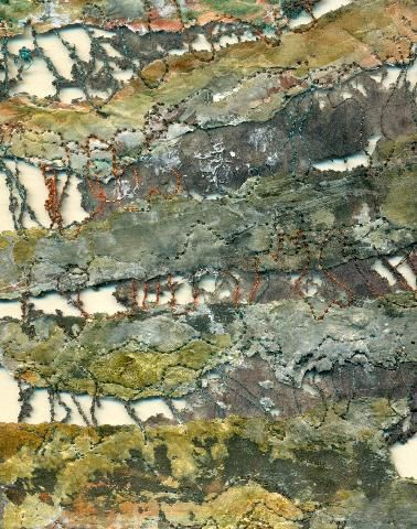 Studio 21 » Jacky Russell, lutradur, corroded and burnt