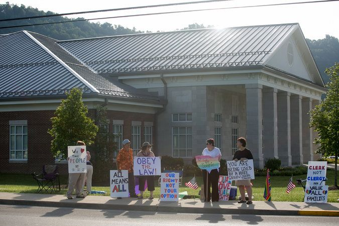 New York Times: Aug. 14, 2015 - Kentucky clerk defies federal court order, refuses to issue marriage licenses to gay couples
