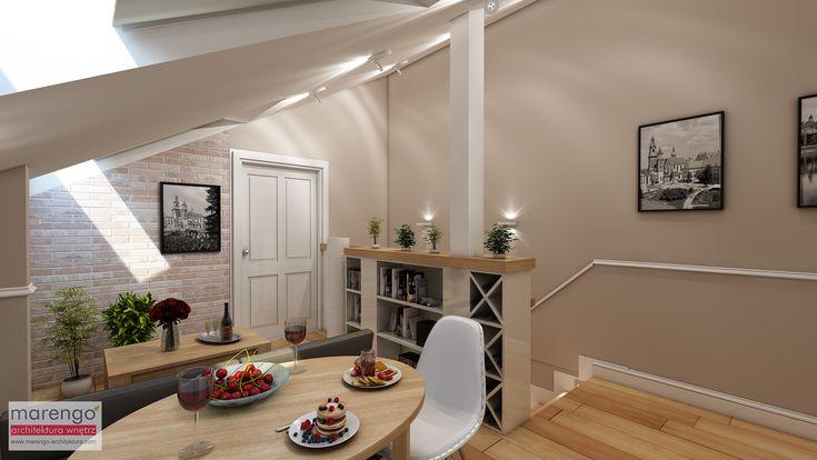 Urokliwe mieszkanie na poddaszu w jednej z krakowskich kamienic. Więcej na: http://marengo-architektura.com/portfolio/projekt-mieszkania-w-kamienicy/