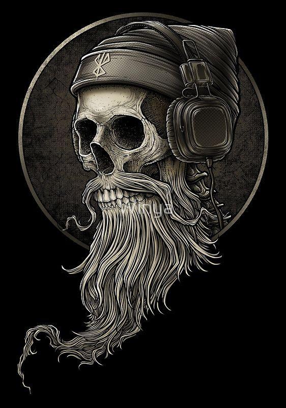 Cráneo y de la barba • Also buy this artwork on wall prints, apparel, stickers y more.