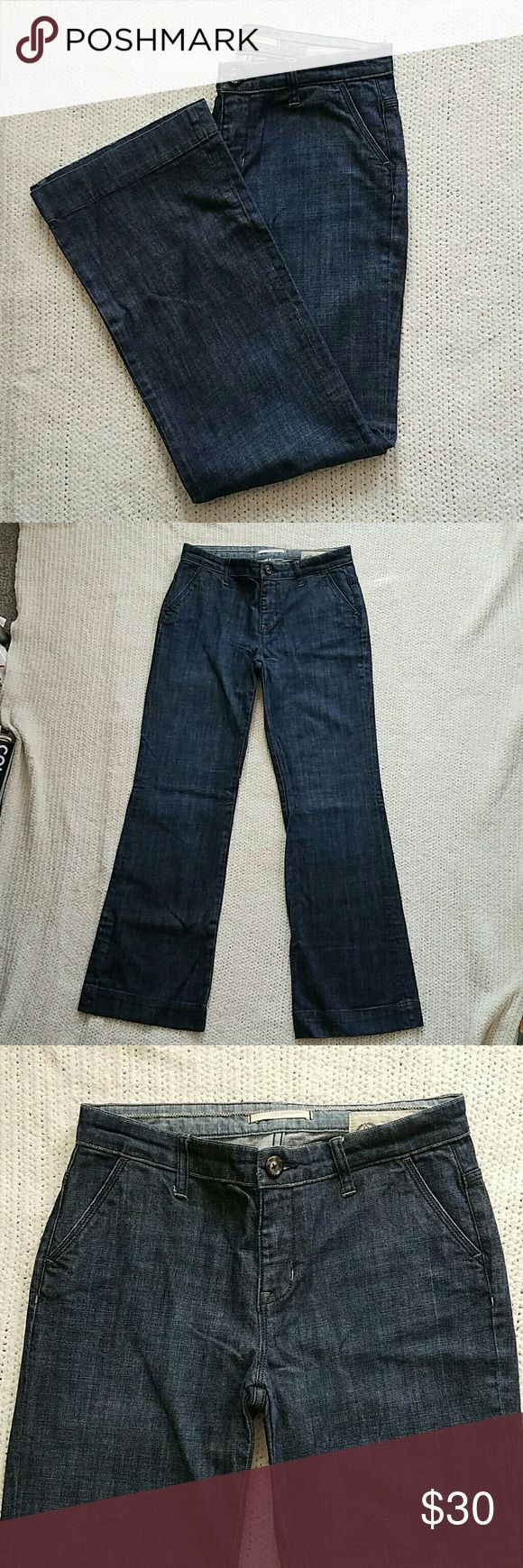 Gap trouser jeans Gap wide leg trouser jeans. 32 inch leg length. Dark wash. Worn a couple of times, great condition still. No snags, rips or holes.  Animal and smoke free home. GAP Jeans Flare & Wide Leg