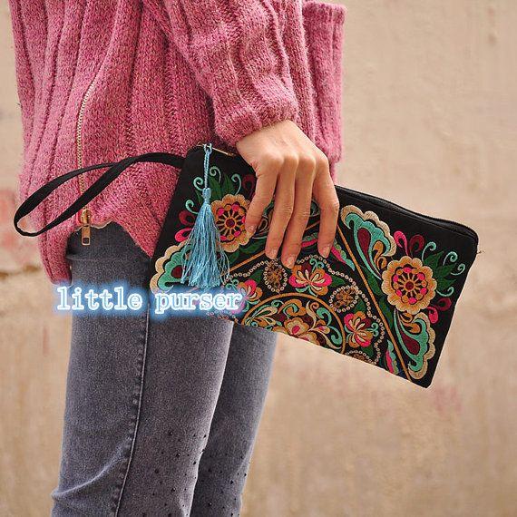 Folk Stil Damen bestickte Handtasche retro classic Long Wallet Geldbörse Compact Brieftasche Aktenkoffer