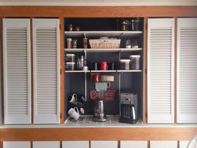 coffee station, kitchen design, organizing