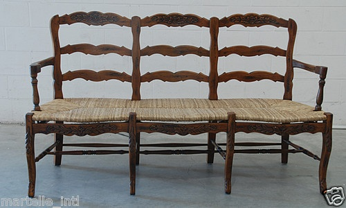 french country bench solid mahogany rush seat hand carved