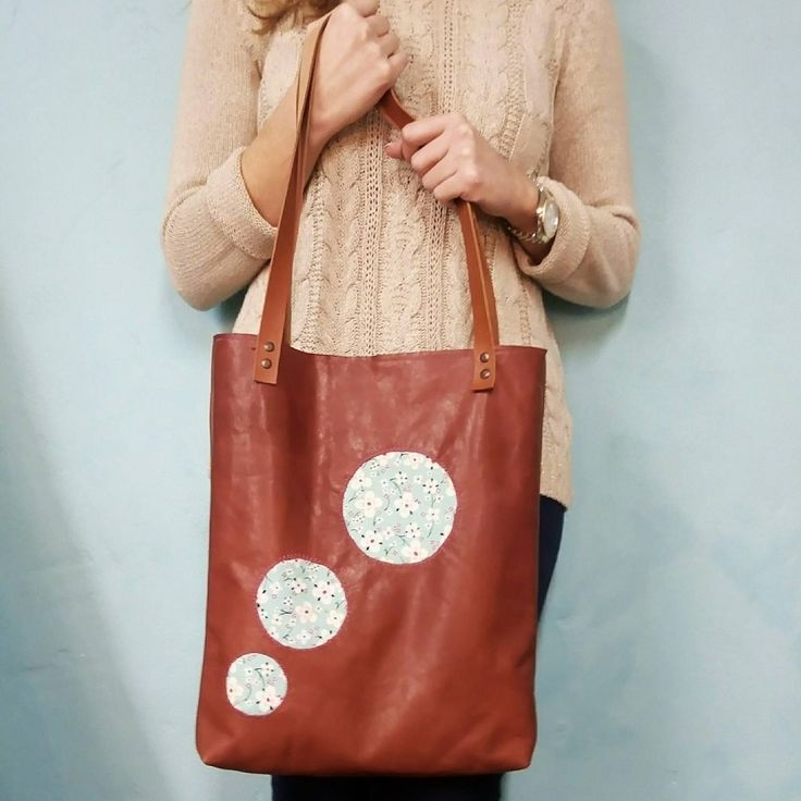 Circles Leather tote bag