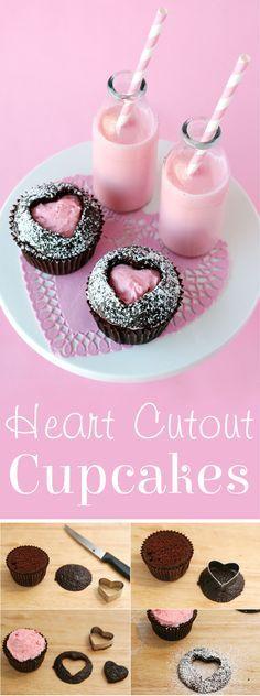 Adorable and creative Heart Cutout Cupcakes! via GloriousTreats.com