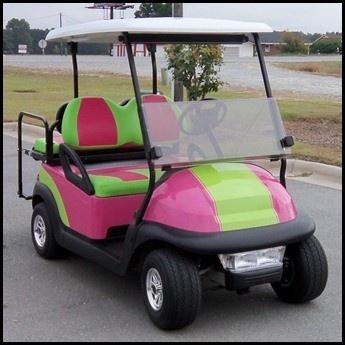 club car pink | Golf Cart For Sale, Goldsboro, NC, 2008 Club Car, Pink and Lime Custom