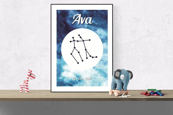 Custom Gemini wall art Zodiac constellation name print