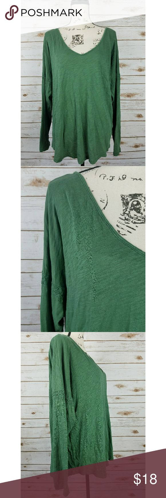 "Gap Deep V Green Long Sleeve Top Lace Detail Excellent condition, no stains or flaws. Material is light,  breathable and soft. There is lace detail around the upper arm of both sleeves. The material tag was cut out so I am not sure of the material content.   Chest (laying flat): 24 Length: 28""  Reasonable offers will be considered, bundles are discounted. No trades and no modeling. I can ship same or next day.  A1 GAP Tops Tees - Long Sleeve"