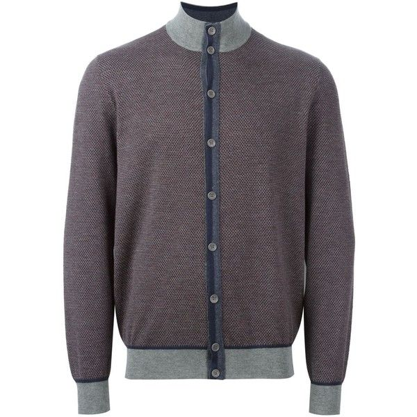 Loro Piana cashmere contrasting detail cardigan ($1,385) ❤ liked on Polyvore featuring men's fashion, men's clothing, men's sweaters, grey, mens grey sweater, mens cashmere cardigan sweater, mens cardigan sweaters, mens gray sweater and mens cashmere sweaters
