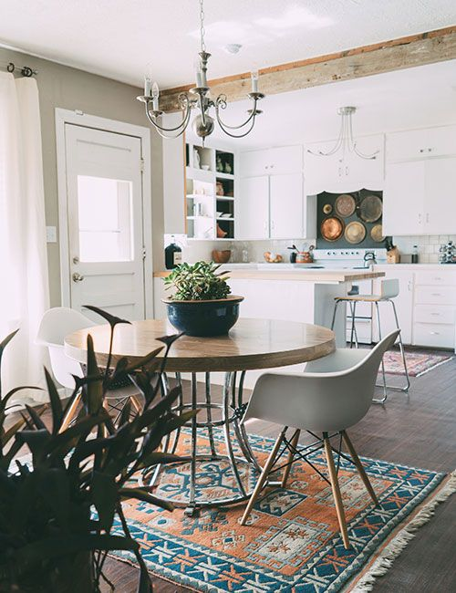 Round dining table with an amazing rug