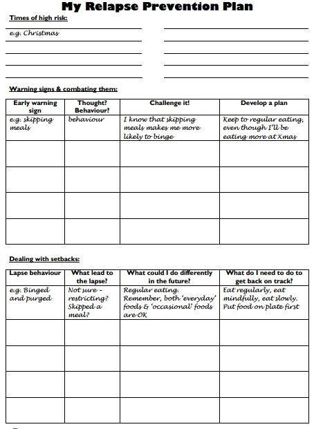 webiteback:  Relapse Prevention Plan - Worksheet by lesley