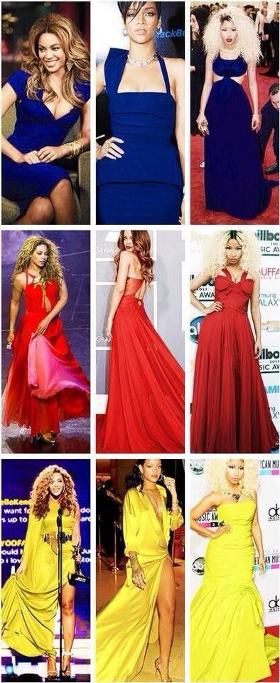 Collage of Blues, Reds, & Yellows of Beyonce, Rihanna, & Nicki Minajღ #Fandom #Random #Singers