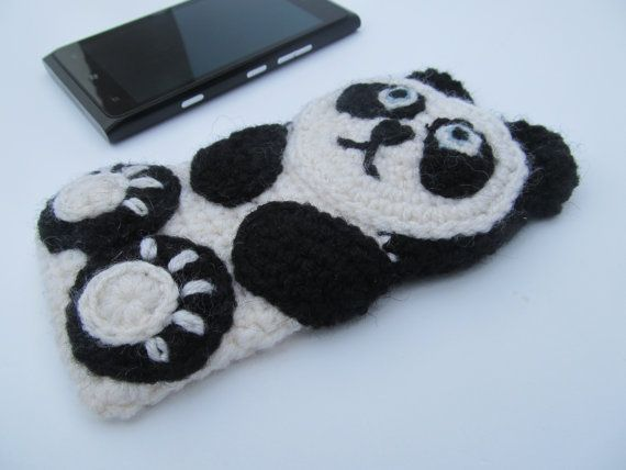 Panda crochet case sleeve cover for iPhone iPod by JillAndJoeys, $27.00