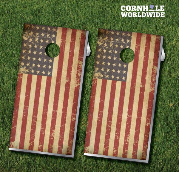 Our Grunge American Flag Cornhole Boards are a great way to show off Old Glory and bring tons of American patriotism to your cornhole boards.