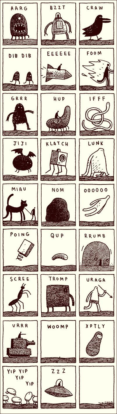 Noisy Alphabet by Tom Gauld, cabanonpress #Illustration #Alphabet #Phonics