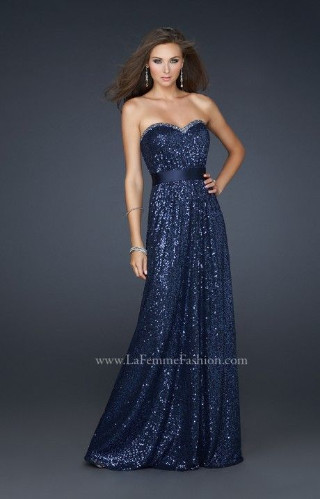 Look like an old school Hollywood Movie Star in this full length Sequined strapless dress by La Femme! The La Femme 17059 gown comes in Charcoal, Fuchsia, Light Gold, or Navy.  The sweetheart neckline is so classic and elegant. The waist is cinched with a gorgeous strap of matching fabric. This gown is perfect for Prom for those who are curvy, hippie and many more body types. Rock this at Prom and be a shining star!