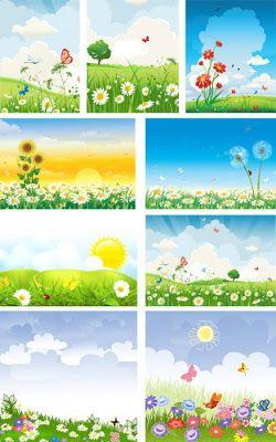 Портфолио для детского садика и школы: Летние фоны для оформления работ Лето, ах, лето!