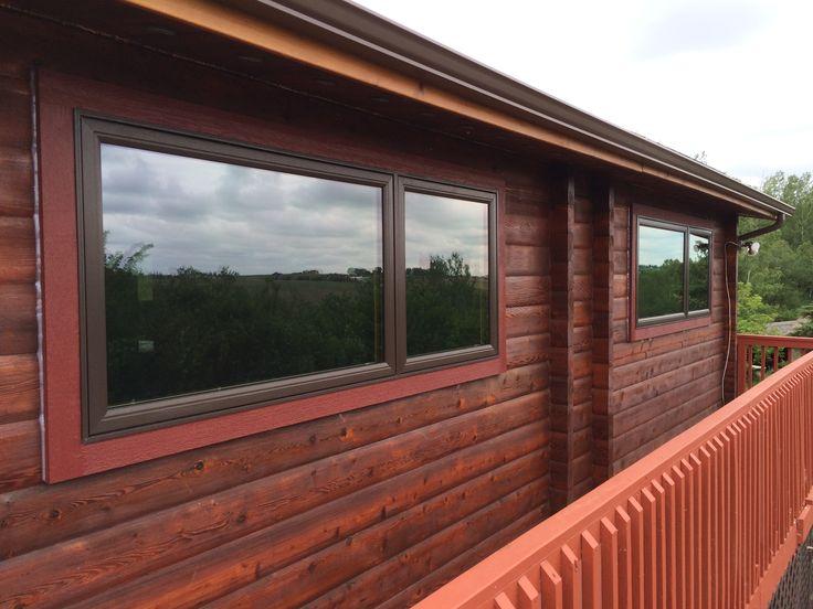 North Star window, Cocoa exterior with Kolonial Oak interior.