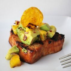 Caribbean Grilled Tuna Steaks with Mango Avocado Salsa ~ Paleo, Gluten free…