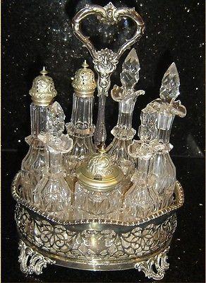 Antique England Victorian Silver-mounted Crystal Cruet Set