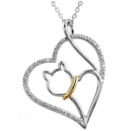 Tender Voices™ Cat in Heart Pendant - This diamond heart and cat necklace celebrates the bond between people and their pets. The Tender Voices ™ jewelry collection supports the ASPCA and its mission to save lives.  Features      Color: White I-J     Metal: Sterling silver with 10k Gold Plate     Stone: 25 Diamonds 1/10 Carat     Clarity: I2-I3     Chain length: 18 Inches     Metal weight: 2.71 grams
