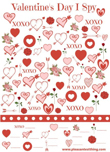 Free Printable Valentine's Day I Spy game - a quiet activity to print for the classroom and on the go.