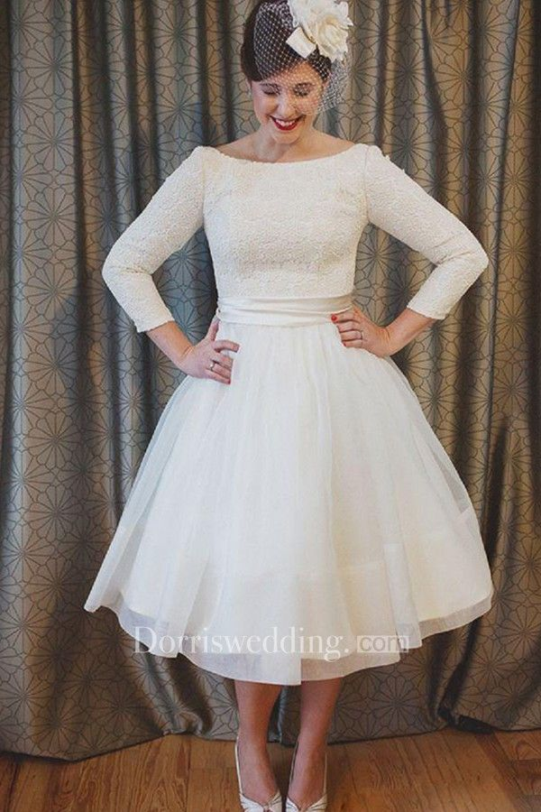 fbb9ae769ceb Plus Size Tea Length Lace and Organza Wedding Dresses with 3-4 Long Sleeves  - Dorris Wedding