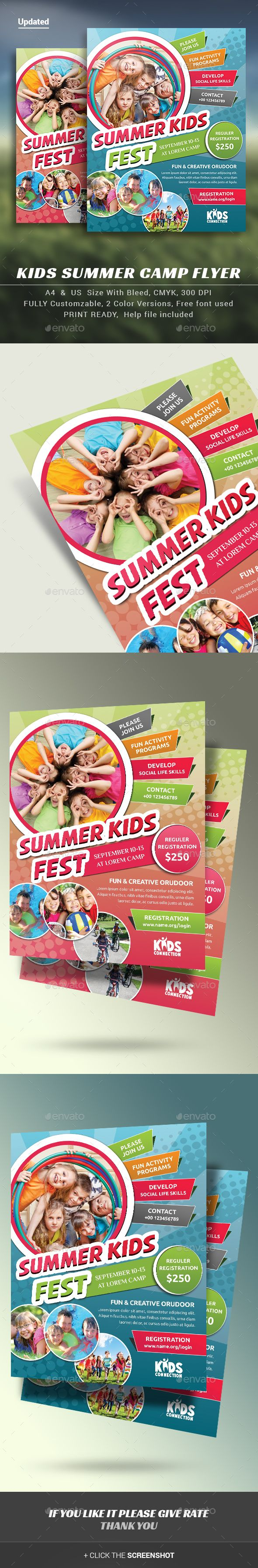 Kids Summer Camp Flyer — Photoshop PSD #sports #kids • Available here → https://graphicriver.net/item/kids-summer-camp-flyer/11718415?ref=pxcr