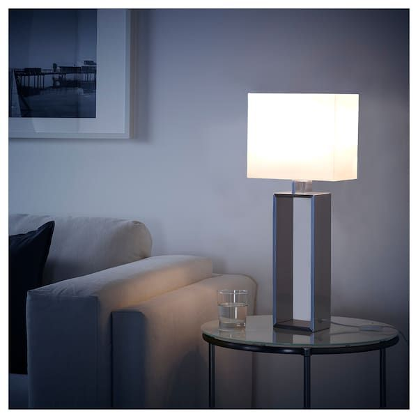 Stiltje Table Lamp With Led Bulb Off White Aluminum Color Ikea Table Lamp Table Lamp Lighting Lamp