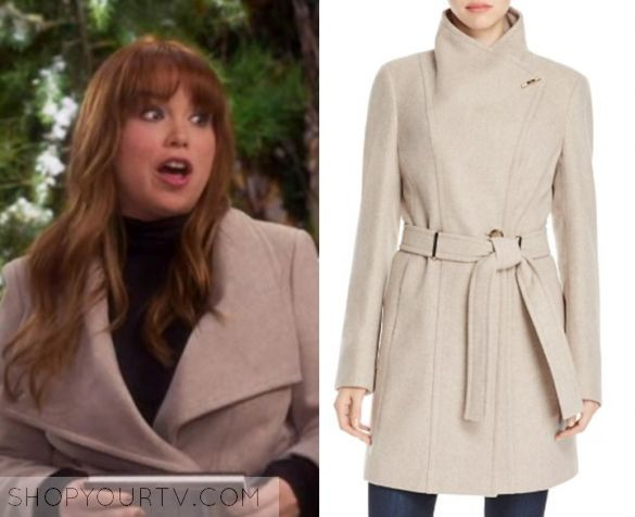 """Last Man Standing: Season 6 Episode 17 Kristin's Beige Wool Coat   Shop Your TV Kristin Baxter (Amanda Fuller) wears light beige oatmeal color wool trench coat in this episode of Last Man Standing, """"The Friending Library"""".  It is the Calvin Klein Toggle Wrap Coat"""