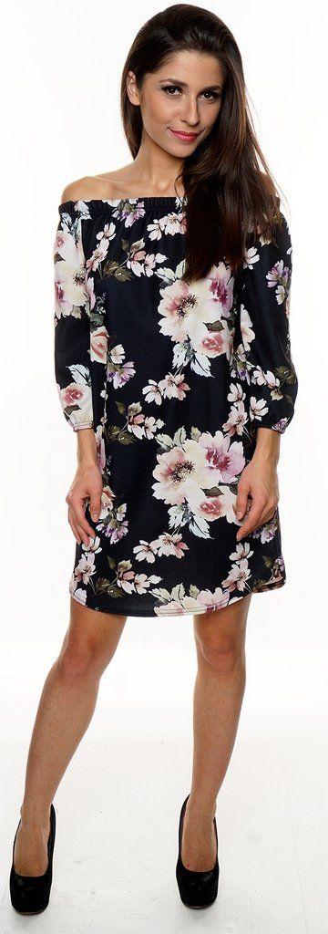 crepe style 3/4 sleeve shift dress