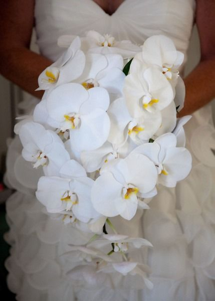 Destination wedding bouquet idea - white orchid bouquet for bride {Kelly Greer, photographer}