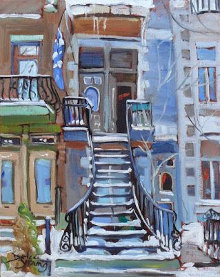 Darlene Young a Painting a Day: 1014 Montreal Winter Scene, The Open Door, 8x10, o...