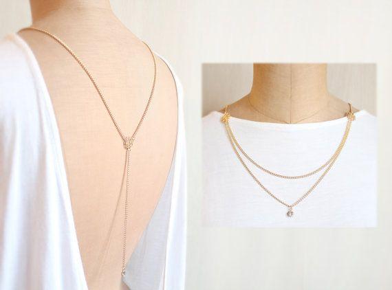 b a c k c a m e l l i a 5 -Wedding Jewelry, Rose Gold Color, Back Necklace, Bridal Necklace, Back Drop on Etsy, $55.49