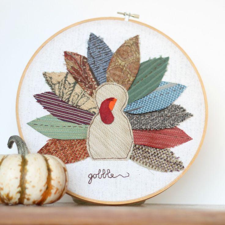 Turkey Embroidery hoop art- pattern and tutorial