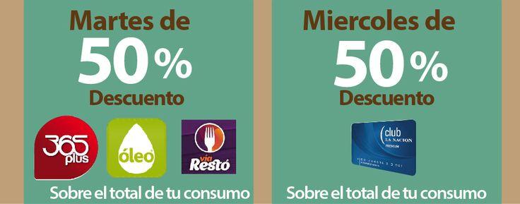 Martes de 50% sobre tu consumo con Clarin365plus, GuiaOleo y ViaResto, y Miercoles de 50% con Tarjeta ClubLaNación,