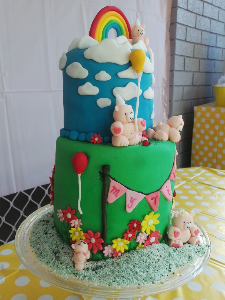 Matilda's birthday cake from this side - teddy bear picnic theme